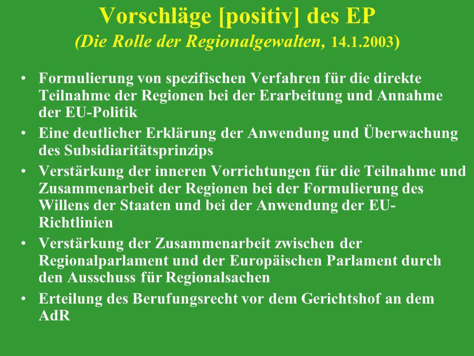 Vorschläge [positiv] des EP (Die Rolle der Regionalgewalten, 14. 1